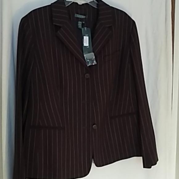 Lauren Ralph Lauren Jackets & Blazers - Ralph Lauren brown pinstripe blazer 16W